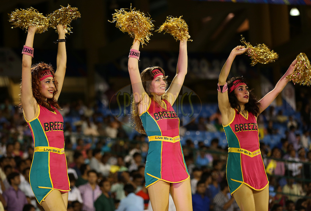 Cheer girls performs during match 3 of the Oppo Champions League Twenty20 between the Cape Cobras and the Northern Knights held at the Chhattisgarh International Cricket Stadium, Raipur, India on the 19th September 2014<br /> <br /> Photo by:  Sandeep Shetty / Sportzpics/ CLT20<br /> <br /> <br /> Image use is subject to the terms and conditions as laid out by the BCCI/ CLT20.  The terms and conditions can be downloaded here:<br /> <br /> http://sportzpics.photoshelter.com/gallery/CLT20-Image-Terms-and-Conditions-2014/G0000IfNJn535VPU/C0000QhhKadWcjYs