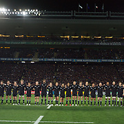 The All Blacks sing the national anthem before the New Zealand V France Final at the IRB Rugby World Cup tournament, Eden Park, Auckland, New Zealand. 23rd October 2011. Photo Tim Clayton...