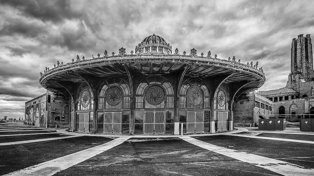 A black and white image of the carousel house in Asbury Park.