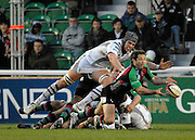 Twickenham, GREAT BRITAIN,   Ospreys, Alun WYN JONES launches himself at Quins Andy GOMERSALL, during the EDF. Energy Cup. between, Harlequins vs Ospreys at Twickenham Stoop.  02/12/2007 [Mandatory Credit Peter Spurrier/Intersport Images].
