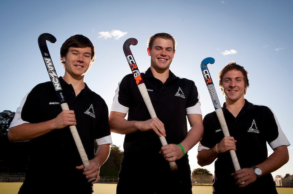 ***FREE FOR EDITORIAL USE*** ..Brennan Alexander-Parker ñ Mid fielder, Sam Greaney ñ Goal Keeper and Robert Creffier ñ Striker, have been named in the New Zealand u21 Junior Black Sticks squad. Photo by: John Cowpland / alphapix...John Cowpland.Alphapix.PO Box 876.Napier.New Zealand..Phone +64 6 8445334.Mobile + 64 272533464..info@alphapix.co.nz..www.alphapix.co.nz..Any images are copyright of Alphapix / John Cowpland..No images may be stored, manipulated, distributed or altered in any way, without written permission or license to do so.