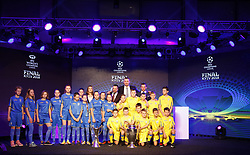 December 12, 2017 - Kiev, Ukraine - Ukraine's national soccer team coach Andriy Shevchenko ( on top,R) and Kiev Mayor Vitali Klitschko (on top,C) and Ukrainian children pose with the UEFA Champions League and UEFA Women's Champions League trophies, during the presentation of the logo of the 2018 Champions League final soccer match in Kiev, Ukraine, 12 December, 2017.  The UEFA Champions League final will be played at the Olimpiyskiy stadium on 26 May 2018 in Kiev. (Credit Image: © Str/NurPhoto via ZUMA Press)