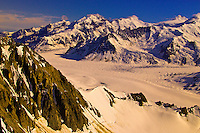 Aerial view above Triumvirate Glacier, Tordrillo Mountains, Alaska