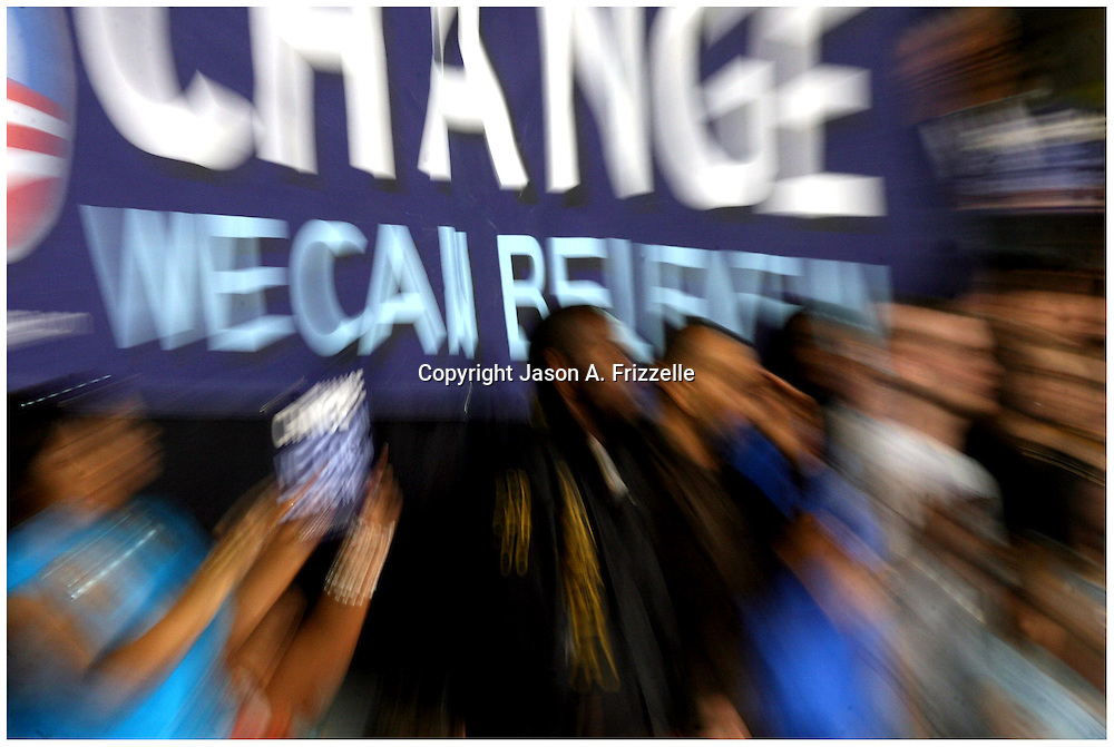Supporters of Barack Obama cheer the Presidential candidate's speech Thursday at Minges Coliseum. (Jason A. Frizzelle)