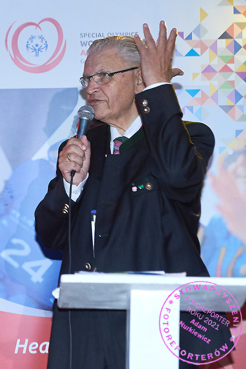 Hermann Kroell speaks while Austria 2017 Reception during third day of the Special Olympics World Games Los Angeles 2015 on July 27, 2015 in Los Angeles, USA.<br /> USA, Los Angeles, July 27, 2015<br /> <br /> Picture also available in RAW (NEF) or TIFF format on special request.<br /> <br /> For editorial use only. Any commercial or promotional use requires permission.<br /> <br /> Adam Nurkiewicz declares that he has no rights to the image of people at the photographs of his authorship.<br /> <br /> Mandatory credit:<br /> Photo by &copy; Adam Nurkiewicz / Mediasport