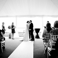 Wedding ceremony alongside Lake Washington in Kirkland.