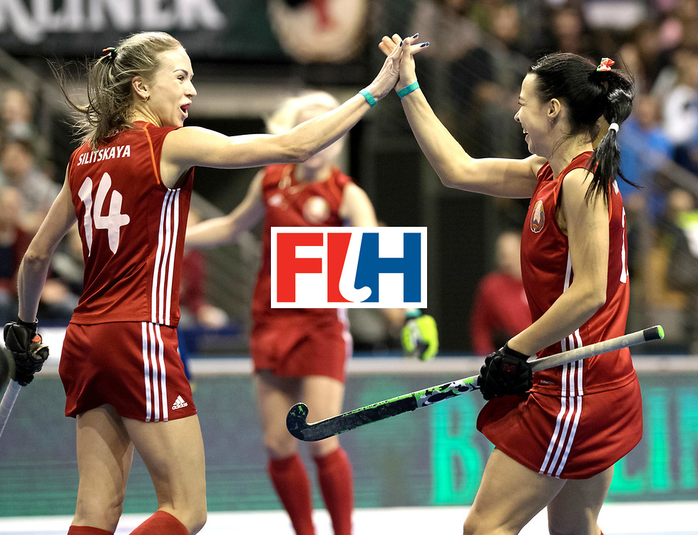 BERLIN - Indoor Hockey World Cup<br /> Quarterfinal 1: Belarus - Australia<br /> foto: NIKITSINA Maryna and SILITSKAYA Nadzeya.<br /> WORLDSPORTPICS COPYRIGHT FRANK UIJLENBROEK