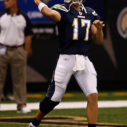 August 27, 2010; New Orleans, LA, USA; San Diego Chargers quarterback Philip Rivers (17) prior to the start of a preseason game at the Louisiana Superdome. The New Orleans Saints defeated the San Diego Chargers 36-21. Mandatory Credit: Derick E. Hingle