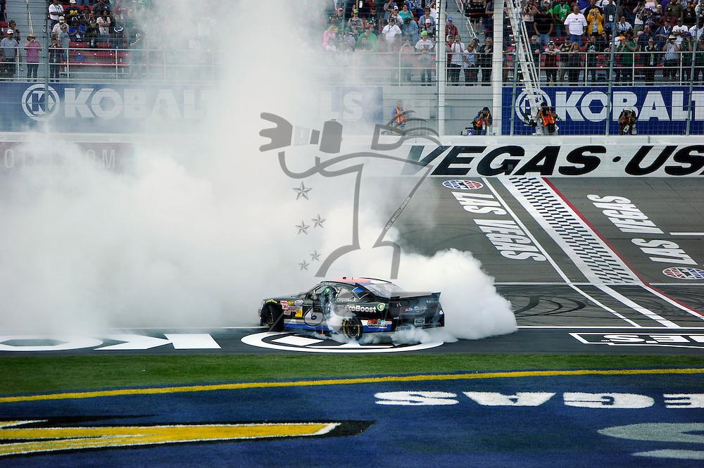 LAS VEGAS, NV - MAR 10, 2012:  Ricky Stenhouse, Jr. (6) wins the Sams Town 300 race at the Las Vegas Motor Speedway in Las Vegas, NV.