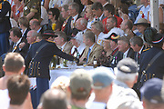 Belgian Crown Prince Filip and Dutch Queen Beatrix attend the 100 years' jubilee of the Old Limburgs Citizens Soldiers in Stramproy, in southern Netherlands near the Belgian border.<br />