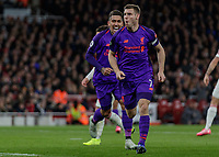 Football - 2018 / 2019 Premier League - Arsenal vs. Liverpool<br /> <br /> James Milner (Liverpool FC) runs off towards the travelling fans in celebration after he scores at The Emirates.<br /> <br /> COLORSPORT/DANIEL BEARHAM