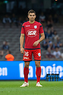 Adelaide United midfielder Nathan Konstandopoulos (16) warms up at the Hyundai A-League Round 7 soccer match between Melbourne Victory v Adelaide United at Marvel Stadium in Melbourne, Australia.