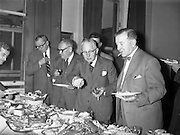 28/09/1960<br /> 09/28/1960<br /> 28 September 1960<br /> Luncheon at Gilbey's Wine Merchants, Nos. 46-49 O'Connell St., Dublin.<br /> (l-r); Mr P. Nicholo; Mr. G. Gallagher; Mr. A. Singleton; Mr. L. Baker and Mr. J.S. Leigh.