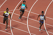 Lisa Marie Kwayie (Germany), Anthonique Strachan (Bahamas), Dina Asher-Smith (Great Britain), 200 Metres Women Semi-Final (Heat 3) during the 2019 IAAF World Athletics Championships at Khalifa International Stadium, Doha, Qatar on 1 October 2019.