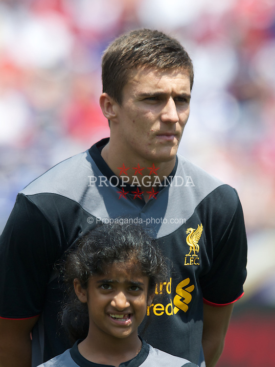 BALTIMORE, MD - Saturday, July 28, 2012: Liverpool's Adam Morgan before a pre-season friendly match against Tottenham Hotspur at the M&T Bank Stadium. (Pic by David Rawcliffe/Propaganda)
