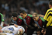 Twickenham, GREAT BRITAIN, Quins,  front row left mike ROSS, hooker centre, Tani FUGA and Ceri JONES,  during the Guinness Premiership match, Harlequins vs Bath Rugby at the Twickenham Stoop.  Sun. 16th Feb 2008. 16.03.2008.  [Mandatory Credit, Peter Spurrier/Intersport-images]