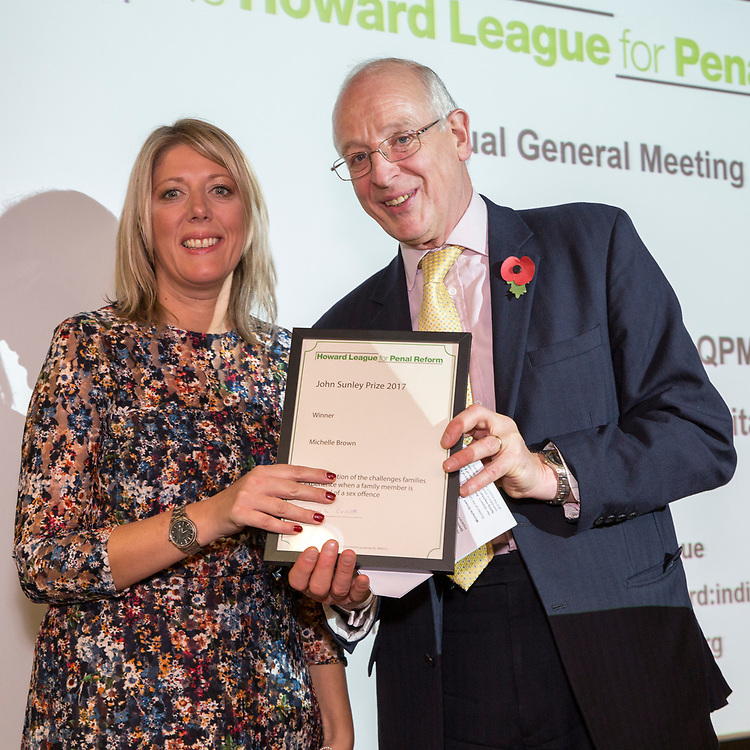 Digby Nelson presenting the John Sunley prize to Michelle Brown. . The Howard League for Penal Reform 'Policing the community' conference and Community Awards 2017. The King's Fund, London, 8 November 2017