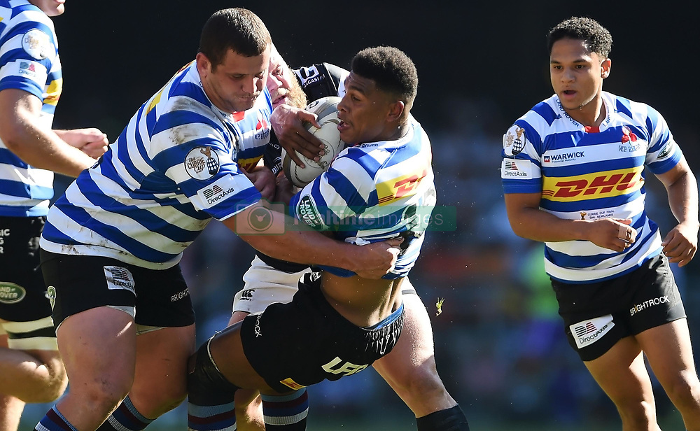 Cape Town-181027 Western Province Damien Willemse challenged by Akker van der Merwe  of  the  Cell C Sharks in the Currie Cup Final at the Newlands Stadium .Photographer:Phando Jikelo/African News Agency(ANA)
