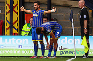 Matt Tubbs of AFC Wimbledon (left) celebrates scoring the Sky Bet League 2 match at Kenilworth Road, Luton<br /> Picture by David Horn/Focus Images Ltd +44 7545 970036<br /> 16/08/2014