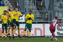 Karim Loukili of Jong FC Utrecht takes a free kick during the Jupiler League match between Fortuna Sittard and jong FC Utrecht at the Fortuna Sittard Stadium on December 23, 2017 in Sittard, The Netherlands