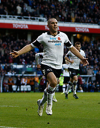 Derby County's Jake Buxton celebrates scoring the first goal-Photo mandatory by-line: Matt Bunn/JMP - Tel: Mobile: 07966 386802 09/11/2013 - SPORT - FOOTBALL - Pride Park - Derby - Derby County v Sheffield Wednesday - Sky Bet Championship