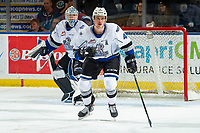 KELOWNA, BC - NOVEMBER 20:  Will Warm #4 and Brock Gould #33 of the Victoria Royals defend the net against the Kelowna Rockets at Prospera Place on November 20, 2019 in Kelowna, Canada. (Photo by Marissa Baecker/Shoot the Breeze)