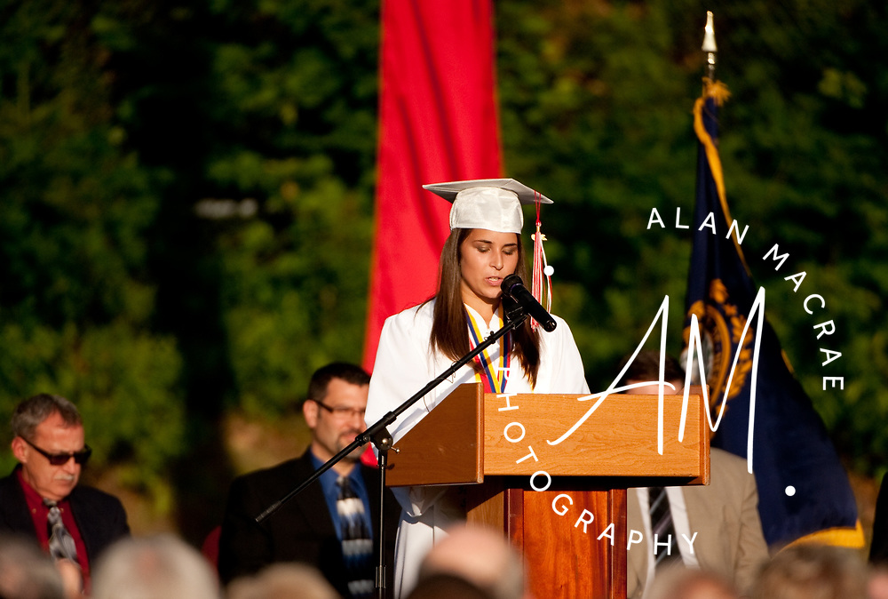 LHS Class of 2010 Valedictorian Rebecca Pawlowski delivers her commencement address during commencement exercises on Friday, June 11, 2010.  (Alan MacRae/for the Citizen)