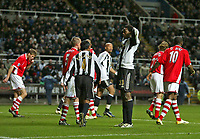 Photo: Andrew Unwin.<br /> Newcastle United v Charlton Athletic. The Barclays Premiership. 22/02/2006.<br /> Newcastle's Shola Ameobi (#23) rues another missed opportunity.
