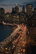 evening rush hour East River Highway New York City