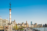 Shanghai, China - April 7, 2013: the bund waterfront hangpu river at the city of Shanghai in China on april 7th, 2013
