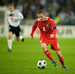 MONCHENGLADBACH, GERMANY - Wednesday, October 15, 2008: Wales' captain Craig Bellamy in action against Germany during the 2010 FIFA World Cup South Africa Qualifying Group 4 match at the Borussia-Park Stadium. (Photo by David Rawcliffe/Propaganda)