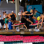 16 November 2017: The San Diego State women's swim team competes in the 2017 A3 Performance Invitational held at the SDSU Aquaplex. SDSU  junior Anna Stahlak in lane 9 and freshman Zeynep Odabasi lane 10 compete in the 500 yard freestyle event.<br /> www.sdsuaztecphotos.com