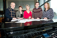 Choir Masters : Seamus Leonard, GUH Choir, Lisa Seary , Something to Sing About, Pat Lilis, Galway Bay Golf Club, Peter Mannion NUIG and Marie Taylor Medtronic Choir at the launch of  Launch of Choirfactor 2014' which takes place in the Radisson Blu Hotel, Galway on Friday 11th April 2014. Photo:Andrew Downes