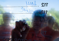 Skylar SCHNEIDER (USA) Boels-Dolmans Cycling Team signs the Signature Board ahead of The Prudential RideLondon Classique. Saturday 28th July 2018<br /> <br /> Photo: Bob Martin for Prudential RideLondon<br /> <br /> Prudential RideLondon is the world's greatest festival of cycling, involving 100,000+ cyclists - from Olympic champions to a free family fun ride - riding in events over closed roads in London and Surrey over the weekend of 28th and 29th July 2018<br /> <br /> See www.PrudentialRideLondon.co.uk for more.<br /> <br /> For further information: media@londonmarathonevents.co.uk