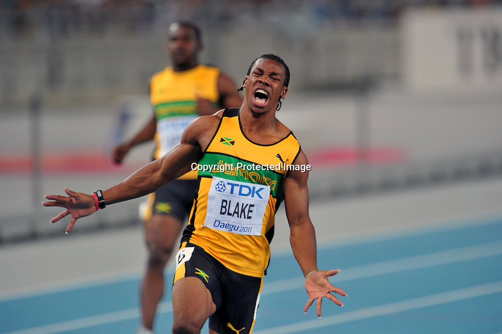 Yohan Blake (JAM),AUGUST 28, 2011 - Athletics :The 13th IAAF World Championships in Athletics - Daegu 2011, Men's 100m Final at the Daegu Stadium, Daegu, South Korea. (Photo by Jun Tsukida/AFLO SPORT) [0003]