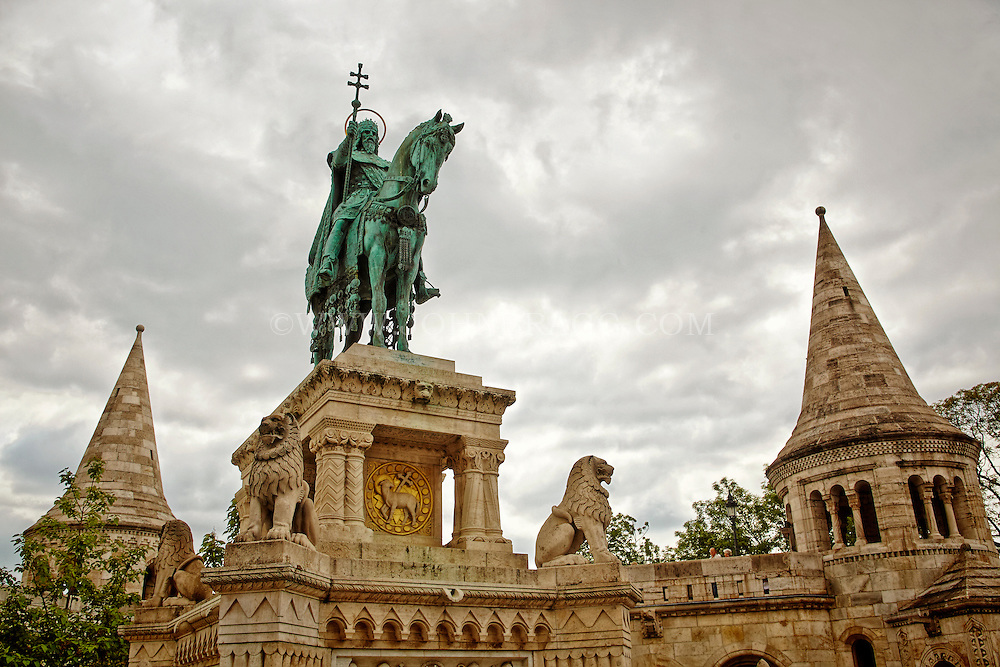 View of the King Saint Stephen's sculpture, the first Christian King of Hungary, Fishermen's Bastion, Budapest, Hungary.