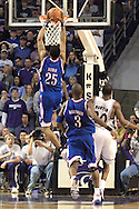 Brandon Rush (25) of Kansas drives in for the dunk against Kansas State, during the second half at Bramlage Coliseum in Manhattan, Kansas, March 4, 2006.  The Jayhawks won 66-52.
