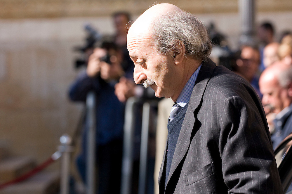 Leader of the Progressive Socialist Party and the Druze community, Walid Jumblatt entering the Lebanese Parliament.