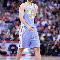 15 April 2014: Denver Nuggets guard Evan Fournier (94) is seen during the Los Angeles Clippers 117-105 victory over the Denver Nuggets at the Staples Center, Los Angeles, California, USA.