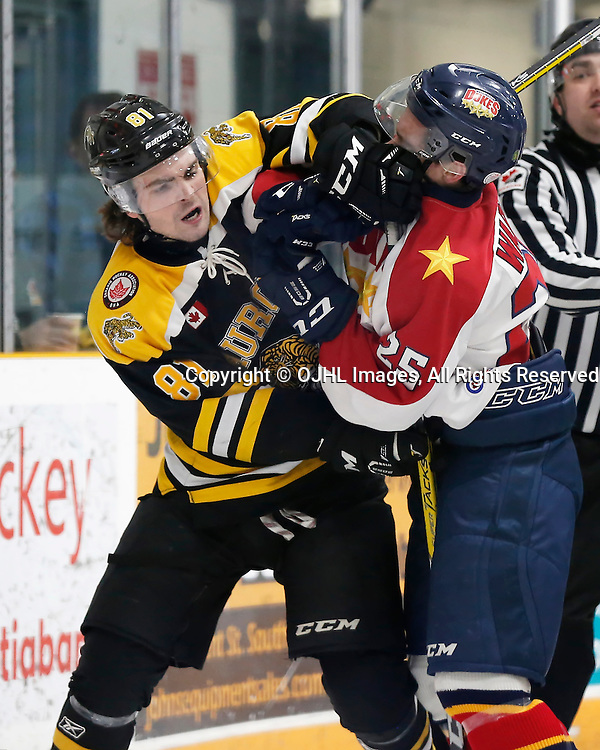 TRENTON, ON - JAN 24,  2017: Ontario Junior Hockey League action game between Aurora and Wellington at the 2017 Winter Showcase, Konner McMillan #81 of the Aurora Tigers and MacKenzie Warren #25 of the Wellington Dukes get into an altercation during the second period<br /> (Photo by Amy Deroche / OJHL Images)