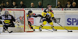 05.02.2016, Messestadion, Dornbirn, AUT, EBEL, Dornbirner Eishockey Club vs UPC Vienna Capitals, 50. Runde, im Bild v.l. David Madlener, (Dornbirner Eishockey Club, #31), Robert Lembacher, (Dornbirner Eishockey Club, #81) und Matthew Dzieduszycki, (UPC Vienna Capitals #46)// during the Erste Bank Icehockey League 50th round match between Dornbirner Eishockey Club and UPC Vienna Capitals at the Messestadion in Dornbirn, Austria on 2016/02/05, EXPA Pictures © 2016, PhotoCredit: EXPA/ Peter Rinderer