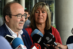 October 6, 2018 - L´Hospitalet De Llobregat, Barcelona, Spain - The First Secretary of the Socialist Party of Catalonia (PSC) Miquel Iceta with the Mayor of L'Hospitalet city Nuria Marin seen speaking to the media during the meeting of Federalists of the Left where another option is sought for the independence of Catalonia. (Credit Image: © Ramon Costa/SOPA Images via ZUMA Wire)