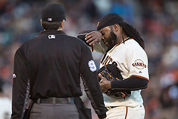 SAN FRANCISCO, CA - JULY 28: Johnny Cueto #47 of the San Francisco Giants talks to umpire James Hoye #92 during the second inning against the Washington Nationals at AT&T Park on July 28, 2016 in San Francisco, California.  (Photo by Jason O. Watson/Getty Images) *** Local Caption *** Johnny Cueto; James Hoye
