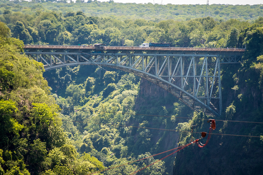 The Victoria Falls Bridge which crosses the Zambezi River and links Zimbabwe and Zambia. Hwange, Zimbabwe