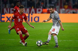 November 6, 2019, Munich, Germany: Joshua Kimmich from Bayern (L) and Mathieu Valbuena from Olympiacos (R) seen in action during the UEFA Champions League group B match between Bayern and Olympiacos at Allianz Arena in Munich. (Credit Image: © Bruno De Carvalho/SOPA Images via ZUMA Wire)