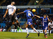 Bury FC Midfielder Tom Soares gets a slight touch on the ball, but not enough to direct it gaolbirds from a corner during the Sky Bet League 1 match between Gillingham and Bury at the MEMS Priestfield Stadium, Gillingham, England on 14 November 2015. Photo by Andy Walter.