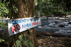"16 November 2018, San José de León, Mutatá, Antioquia, Colombia: 'Take care of nature, do not litter,"" a sign by the River Fortuna reads. The area of San José de León is rich in clean water - a great asset, but also a threat to the community, as mining companies and other interests may enter the scene to exploit or damage the natural resource. Following the 2016 peace treaty between FARC and the Colombian government, a group of ex-combatant families have purchased and now cultivate 36 hectares of land in the territory of San José de León, municipality of Mutatá in Antioquia, Colombia. A group of 27 families first purchased the lot of land in San José de León, moving in from nearby Córdoba to settle alongside the 50-or-so families of farmers already living in the area. Today, 50 ex-combatant families live in the emerging community, which hosts a small restaurant, various committees for community organization and development, and which cultivates the land through agriculture, poultry and fish farming. Though the community has come a long way, many challenges remain on the way towards peace and reconciliation. The two-year-old community, which does not yet have a name of its own, is located in the territory of San José de León in Urabá, northwest Colombia, a strategically important corridor for trade into Central America, with resulting drug trafficking and arms trade still keeping armed groups active in the area. Many ex-combatants face trauma and insecurity, and a lack of fulfilment by the Colombian government in transition of land ownership to FARC members makes the situation delicate. Through the project De la Guerra a la Paz ('From War to Peace'), the Evangelical Lutheran Church of Colombia accompanies three communities in the Antioquia region, offering support both to ex-combatants and to the communities they now live alongside, as they reintegrate into society. Supporting a total of more than 300 families, the project seeks to alleviate the"