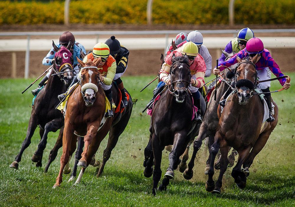 June 27 2015: Prize Exhibit with Santiago Gonzalez win the Señorita Stakes at Santa Anita Park in Arcadia CA. Alex Evers/ESW/CSM