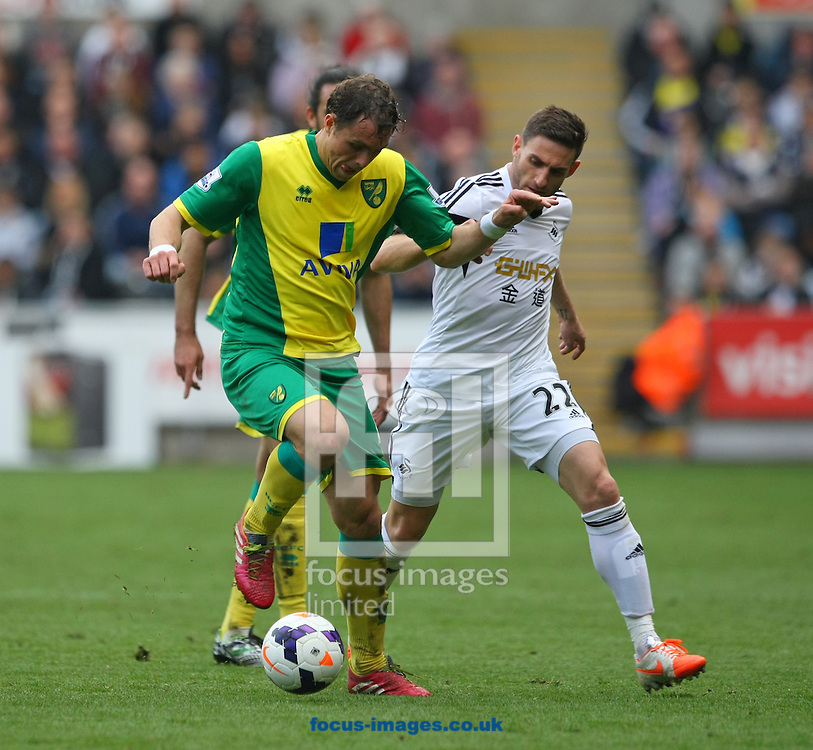 Johan Elmander of Norwich and Angel Rangel of Swansea in action during the Barclays Premier League match at the Liberty Stadium, Swansea<br /> Picture by Paul Chesterton/Focus Images Ltd +44 7904 640267<br /> 29/03/2014