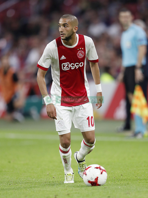Hakim Ziyech of Ajax during the UEFA Europa League fourth round qualifying first leg match between Ajax Amsterdam and RosenBorg BK at the Amsterdam Arena on August 17, 2017 in Amsterdam, The Netherlands